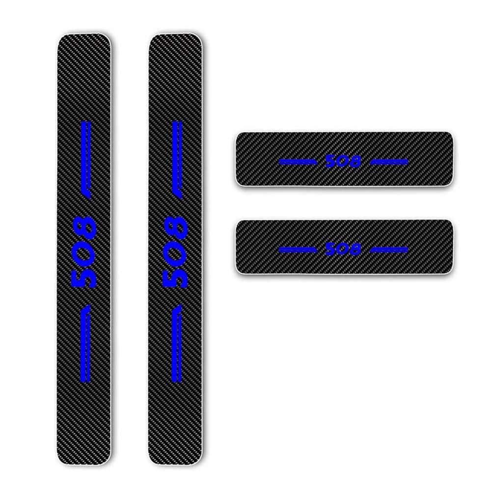 Maiqiken 4 Pi/èces Voiture Bord de Porte Protection Anti-frottement et Anti-Collision Protection pour 508 Fibre de Carbone