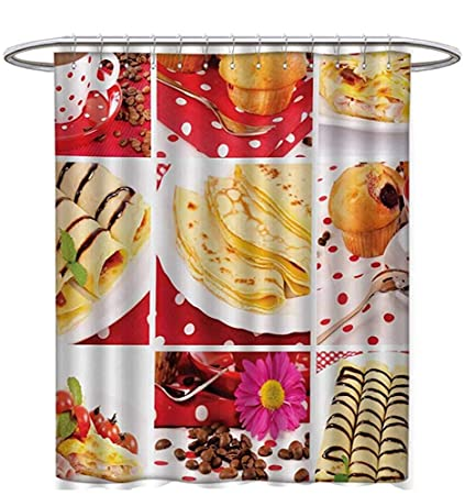 Starophi Coffee Shower Curtains Fabric Extra Long Sweet And Salted Treats Photo Muffins Cupcakes Beans