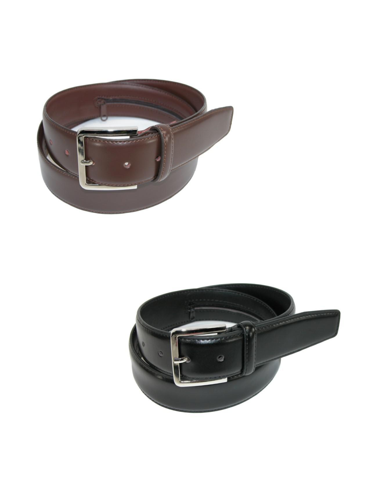 Belton USA Men's Leather Travel Money Belts (Pack of 2), 42, Black/Brown