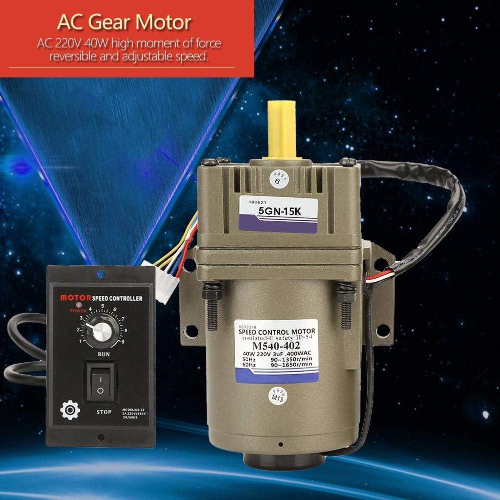 15K AC 220V 40W Motor de engranaje as/íncrono monof/ásico Deceleraci/ón Motor reductor de velocidad ajustable Motor de velocidad continua Motor de velocidad reversible