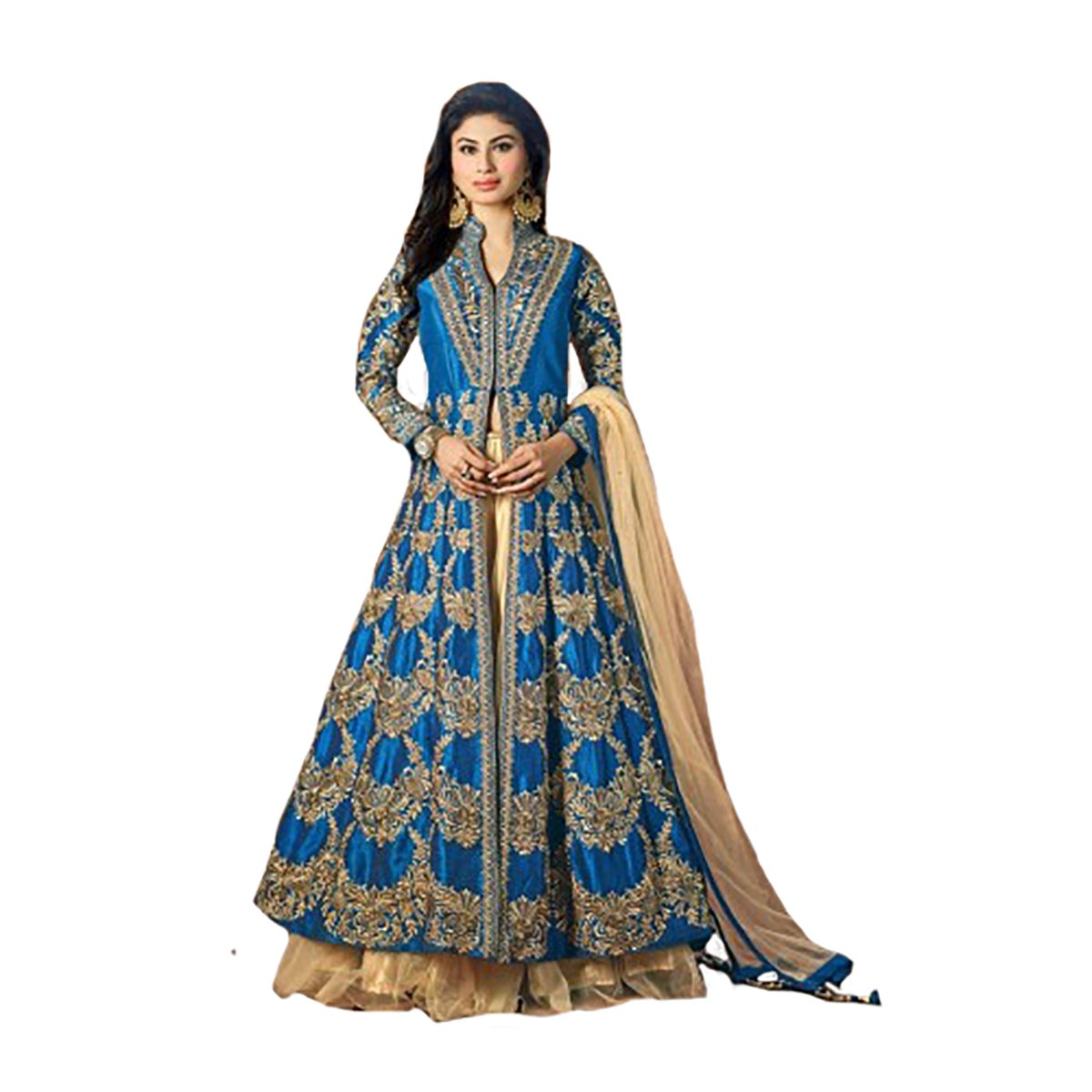 Royal bluee Muslim Silk Handwork Ethnic Skirt Syle Anarkali Kaftan Wedding Salwar Kameez Suit Semi Stitched Indian Pakistani Hit
