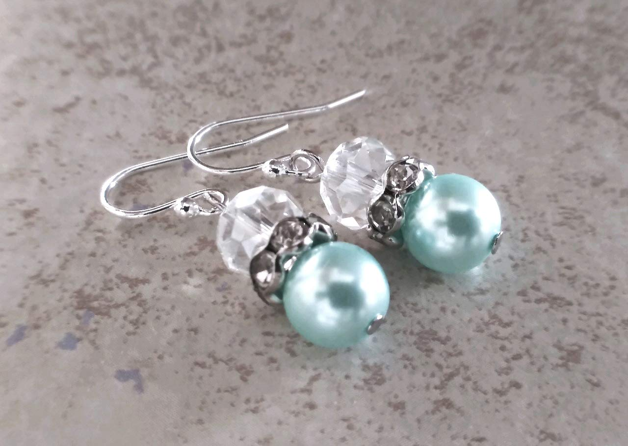 Royal blue pearls sterling silver earrings Royal Blue Wedding Bridesmaids pearl earrings bridesmaids jewelry.