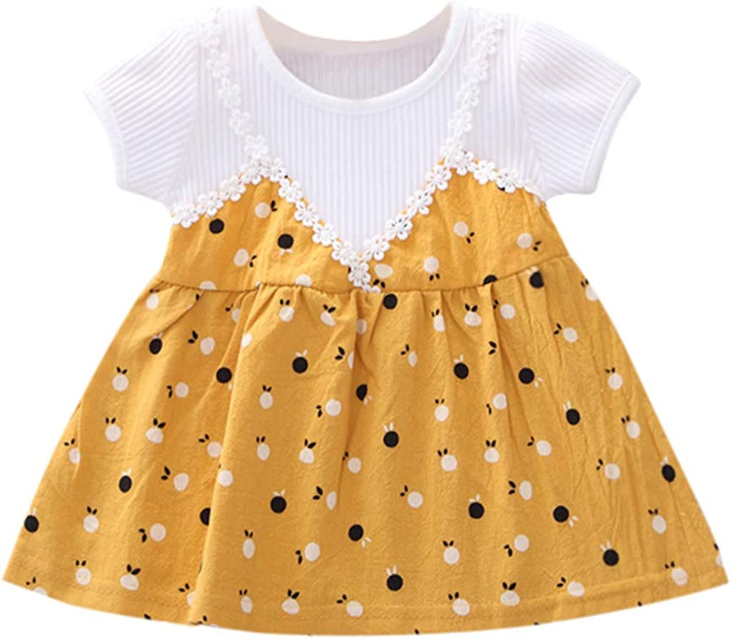 Dinlong Summer Newborn Kids Baby Girls Short Sleeve Fake Two-Piece Printed Princess Party Pageant Tutu Casual Dresses