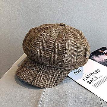 qqyz Vintage Inglés Plaid Octogonal Sombrero Macho Y Hembra ...