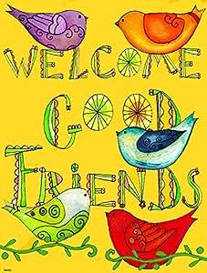 Caroline tesoros del PJC1055CHF bienvenida Buenos Amigos inspirado bandera lona, grande, Multicolor
