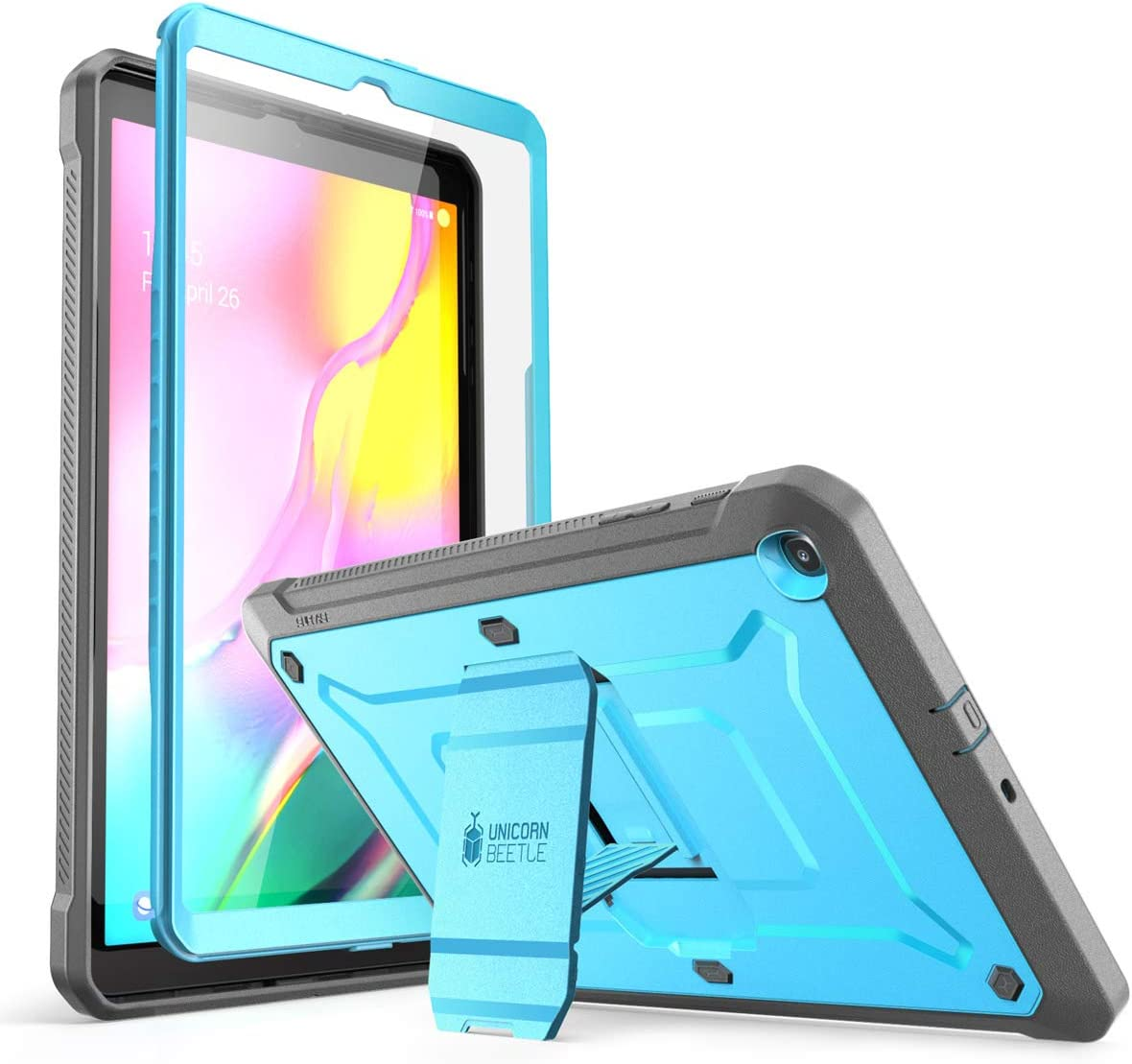 SUPCASE Unicorn Beetle Pro Series Case Designed for Galaxy Tab A 10.1 (2019 Release), Full-Body Rugged Heavy Duty Protective Tablet Case with Built-in Screen Protector (Blue)