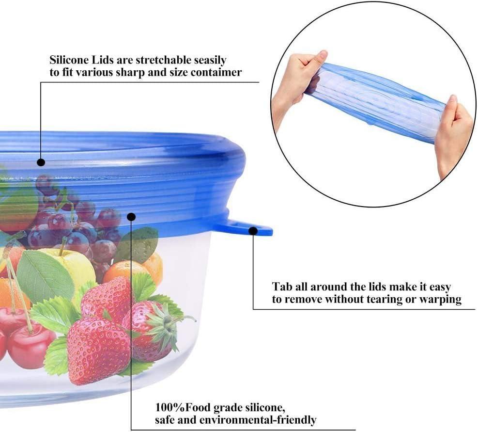 Wolecok pentole e contenitori Light Blue 6 pezzi tappi in silicone per tazze vasi ciotole