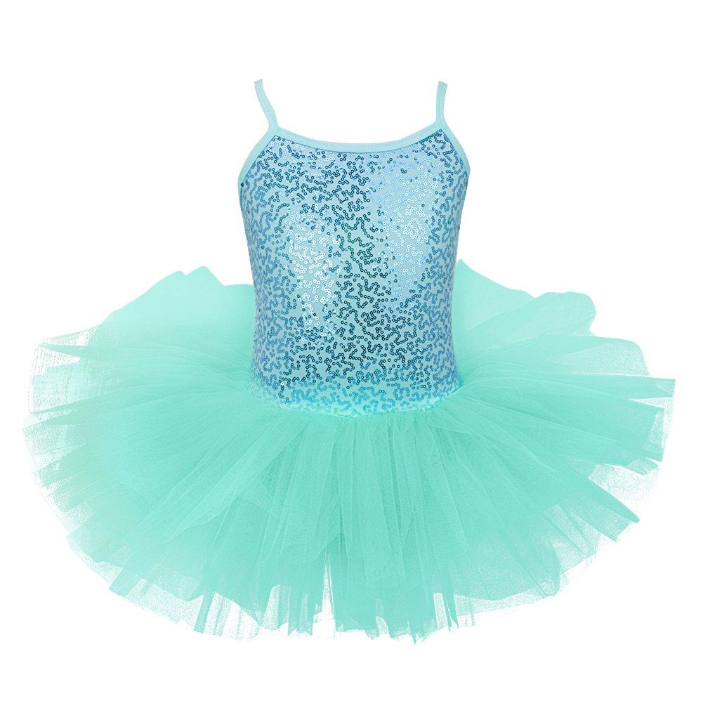 iixpin Mädchen Ballett Kleider Kind Pailletten Kleid Balletttrikot Ballettanzug mit Tüll Röckchen Gr.104-128