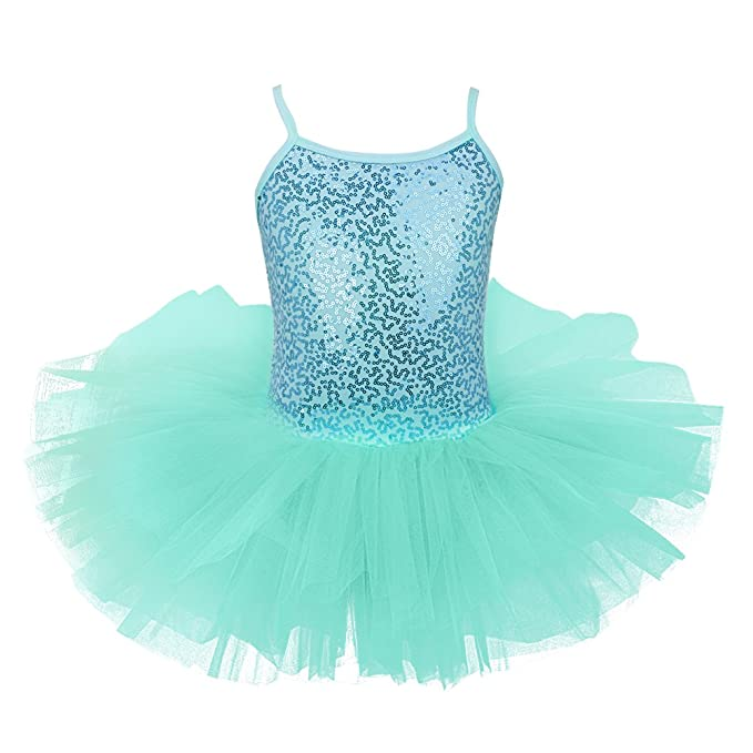 c16bd596c iEFiEL Kids Girls Sequined Ballet Dance Tutu Dress Gymnastic Leotard ...