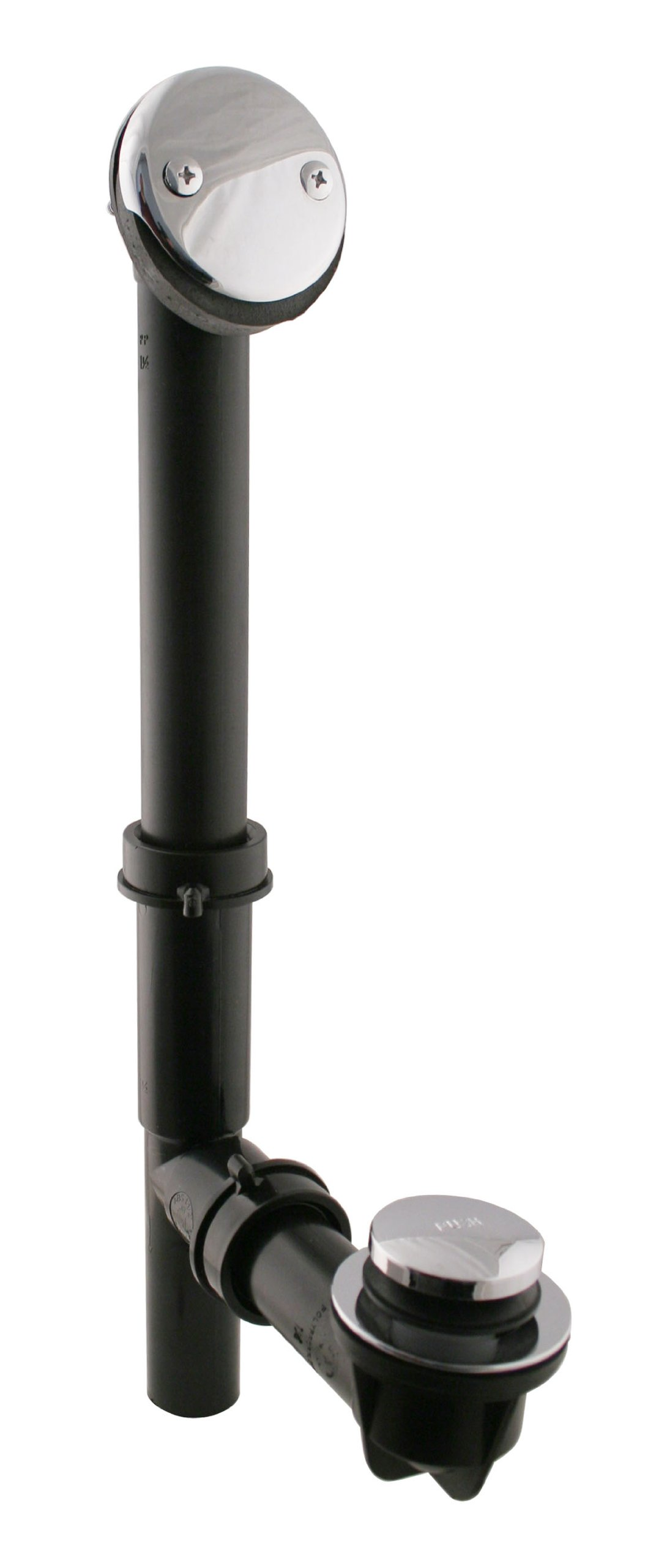 Westbrass Y593144CP Black Tubular Tip-Toe Drain Bath Waste and Overflow, Polished Chrome