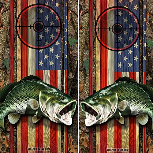 Bass Rod Hot - Speed Demon Hot Rod Shop Cornhole Board Wraps ~ American Flag and Camo with Large Mouth Bass Fish Corn Hole Boards Laminated Decal Wraps (Set of 2) #02