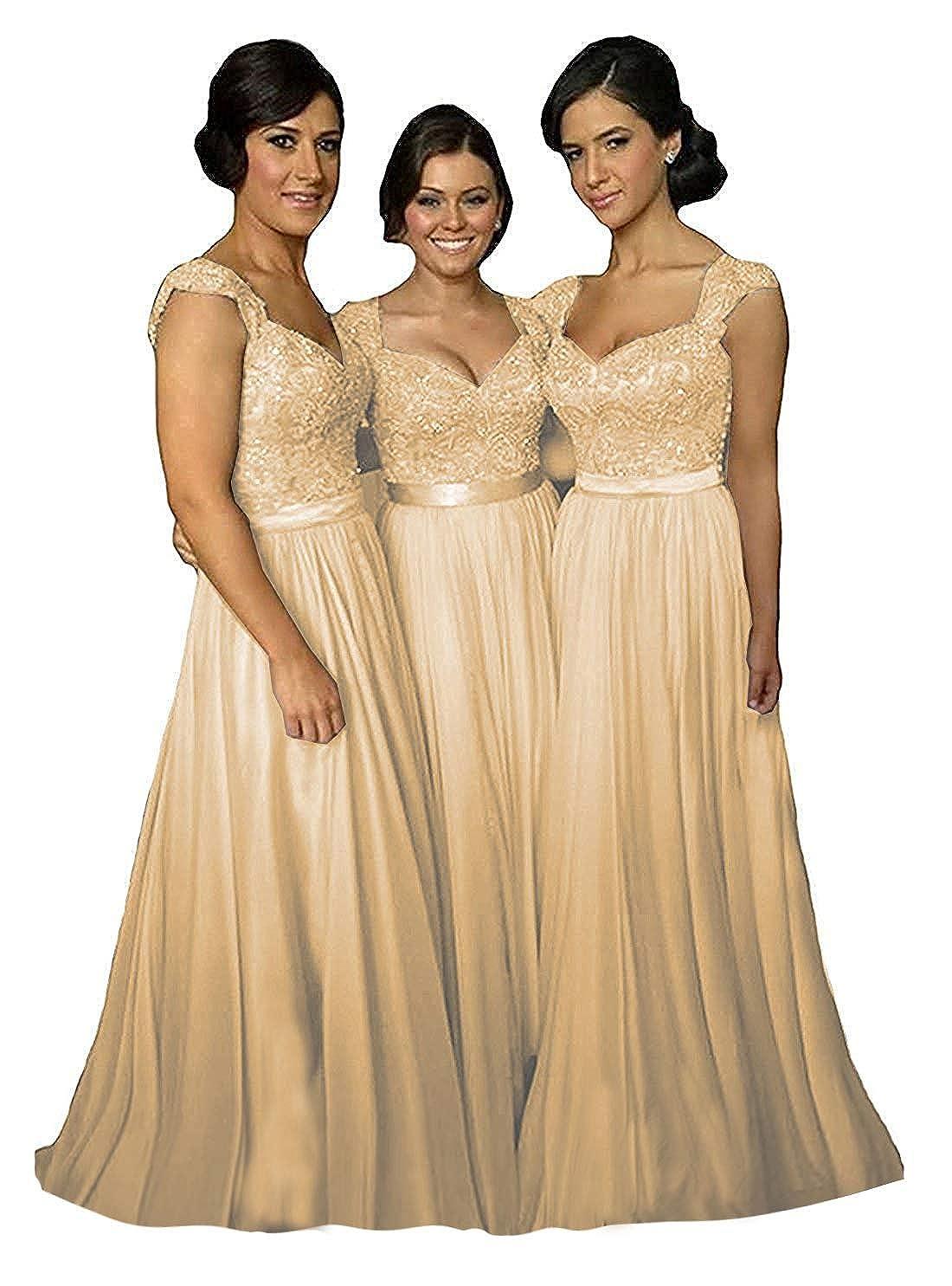 Champagne Fanciest Women' Cap Sleeve Lace Bridesmaid Dresses Long Wedding Party Gowns