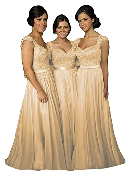 065f4352741f9 Fanciest Women' Cap Sleeve Lace Bridesmaid Dresses Long Wedding Party Gowns  Champagne US2