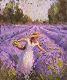 Set of 2 Lavender Landscape Wall Art Prints 5X7'' -''Lavendar Sunset'' &]''Lady Lavender'' Field of Purple Flowers Provence Decor Artwork - Floral Painting