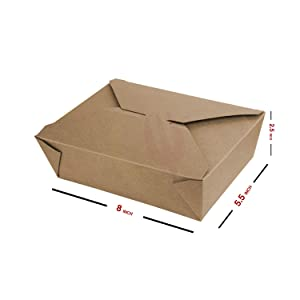 Eco Friendly Disposable Paper Take Out Food Container | Sturdy Leak & Grease Proof Microwavable Take Away Cardboard Boxes | Lunch | Storage | Restaurant-Ware Chinese Chicken Carton (71 oz, Brown)