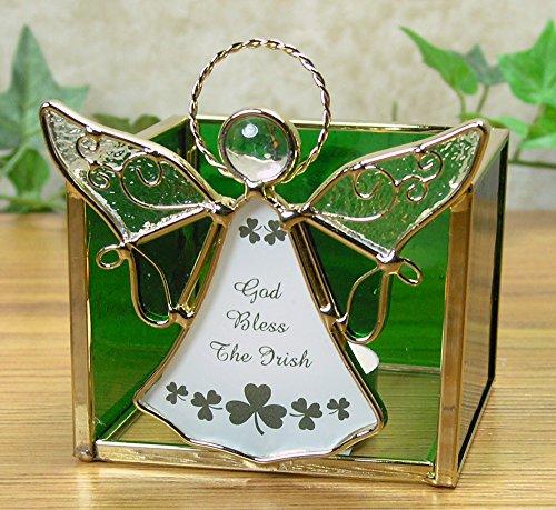 Glass Angels Candle Holder (Glass Irish Angel Candle Holder - Green and White Stained Glass Angel and Shamrocks - God Bless the Irish - St. Patrick's Day Decorations - Irish Angel - Shamrock Decor)