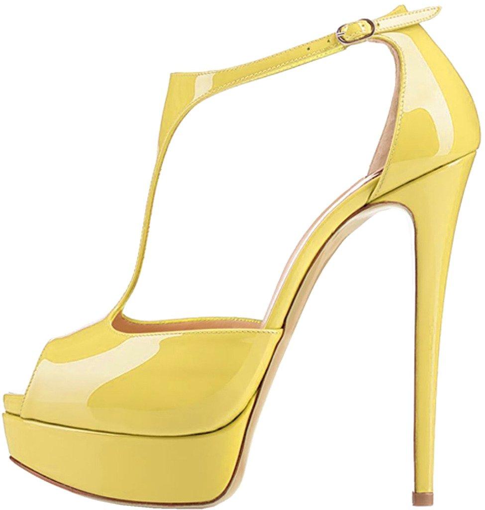 Calaier Mujer Camoney Tacón De Aguja 15CM Sintético Hebilla Sandalias de vestir Zapatos 45 EU Amarillo