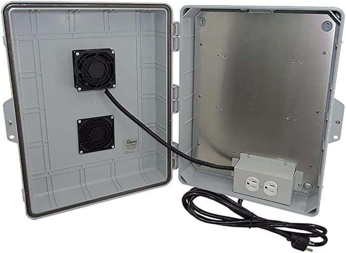 "Altelix Vented NEMA Enclosure 17x14x6 (11.5"" x 9"" x 3.2"" Inside Space) Polycarbonate + ABS Weatherproof with Cooling Fan, Aluminum Equipment Mounting Plate, Pre-Wired 120 VAC Outlets, 5 Ft Power Cord"