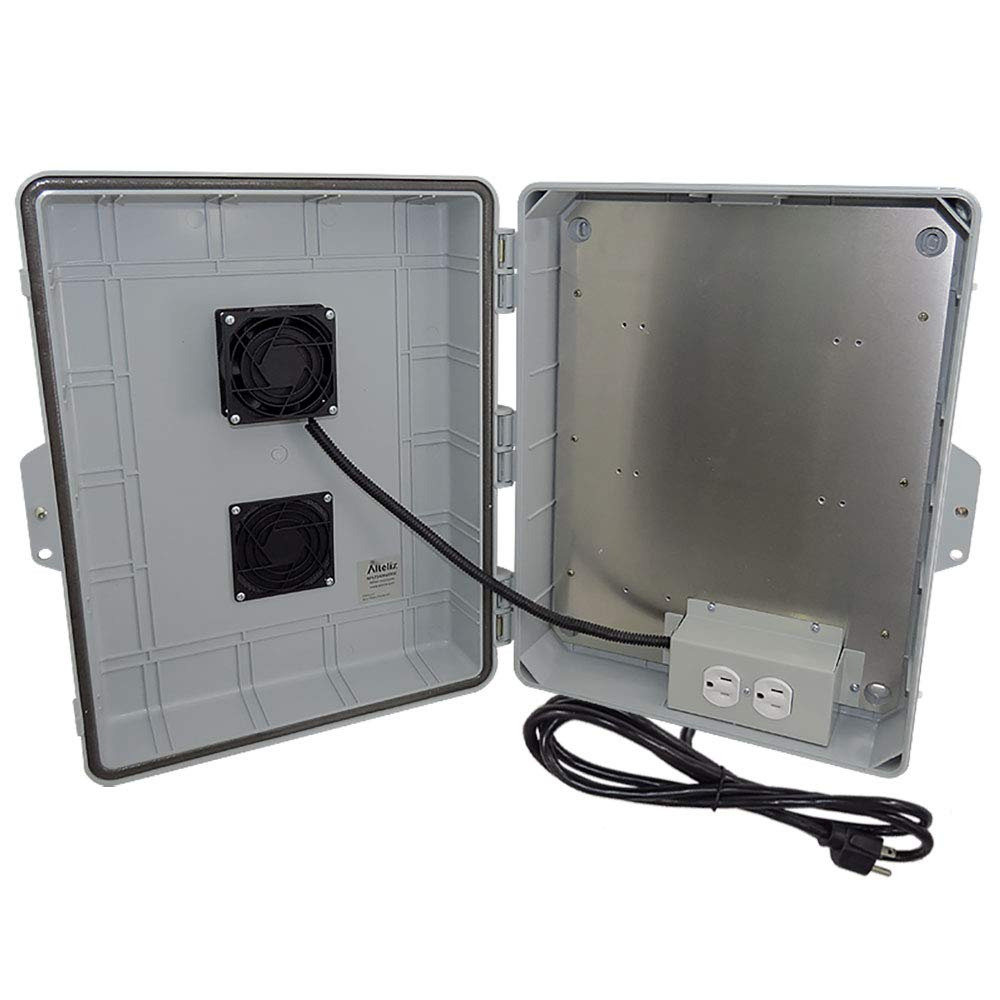Altelix Vented NEMA Enclosure 17x14x6 (11.5'' x 9'' x 3.2'' Inside Space) Polycarbonate + ABS Weatherproof with Cooling Fan, Aluminum Equipment Mounting Plate, Pre-Wired 120 VAC Outlets, 5 Ft Power Cord