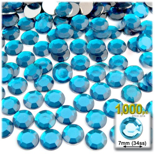 The Crafts Outlet 1000-Piece Flat Back Round Rhinestones, 7mm, Aqua Blue