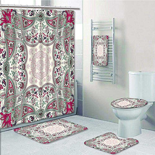 VROSELV 5-piece Bathroom Set-Includes Shower Curtain Liner, Ornamental Square Print Decorate the bathroom(Medium size) hot sale 2017