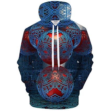 QMKJ Mens Hoodie Sudadera con Capucha Jumper línea 3D Impresiones clásico suéter atlético Casual con Capucha
