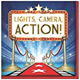 Creative Converting 48 Count Hollywood Lights Lunch Napkins, Red/Blue/White