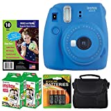 Fujifilm instax mini 9 Instant Film Camera (Cobalt Blue) + Freez-A-Frame Magnetic Photo Pockets + Fujifilm Instax Film (40 Shots) + Small Case (Black) + 4 AA Batteries - Valued Accessory Bundle