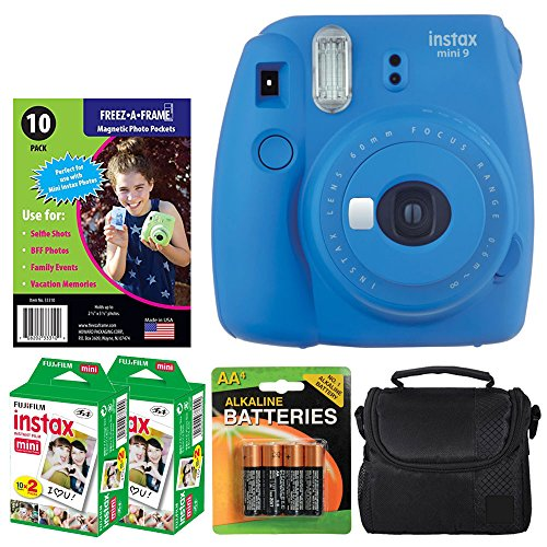 Fujifilm instax mini 9 Instant Film Camera (Cobalt Blue) + Freez-A-Frame Magnetic Photo Pockets + Fujifilm Instax Film (40 Shots) + Small Case (Black) + 4 AA Batteries - Valued Accessory Bundle by PHOTO4LESS