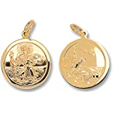 Mens 9ct Gold Round Double Sided St Christopher Pendant On A Curb Necklace