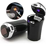TAKAVU 汽车烟灰缸,Protable Auto Car Cigarette 打火机烟雾,带 USB 充电线,蓝色 LED 灯指示灯,适用于通用汽车 银色 RR-2-3-1