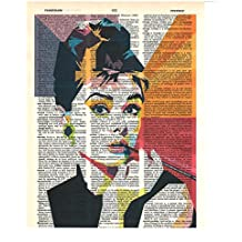 Signature Studios Audrey Hepburn photo Hollywood Actress vintage dictionary art wall decor prints 8x10