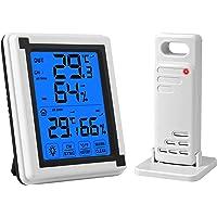 eSynic XP4 vattentät berörbar bakgrundsbelysning digital trådlös inomhus- och utomhustermometer fuktighetsmätare med 1…