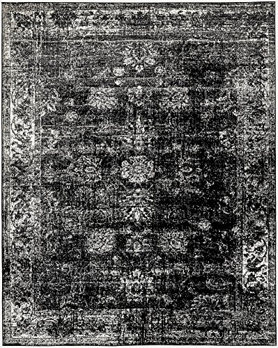 Black 9' x 12' FT Canterbury Rug Modern Traditional Vintage Inspired Overdyed Area Rugs