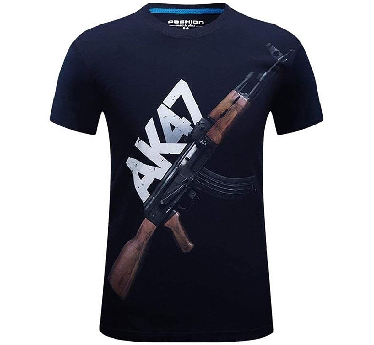 Zimaes-Men Short Sleeve Athletic Floral Printed Crew-Neck T Shirts