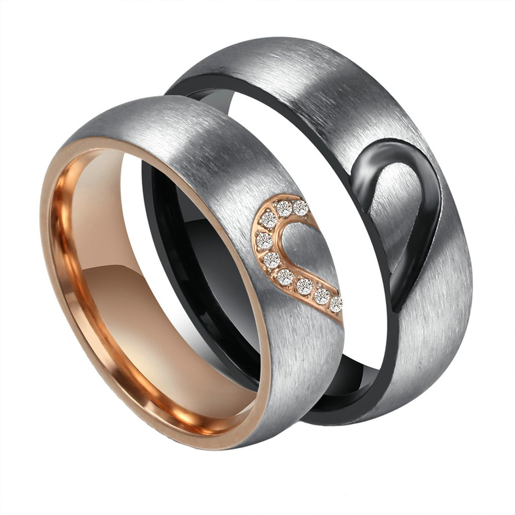 MoAndy Fashion Jewelry Stainless Steel His & Hers Matching Love Bands Wedding Rings 1 Pair