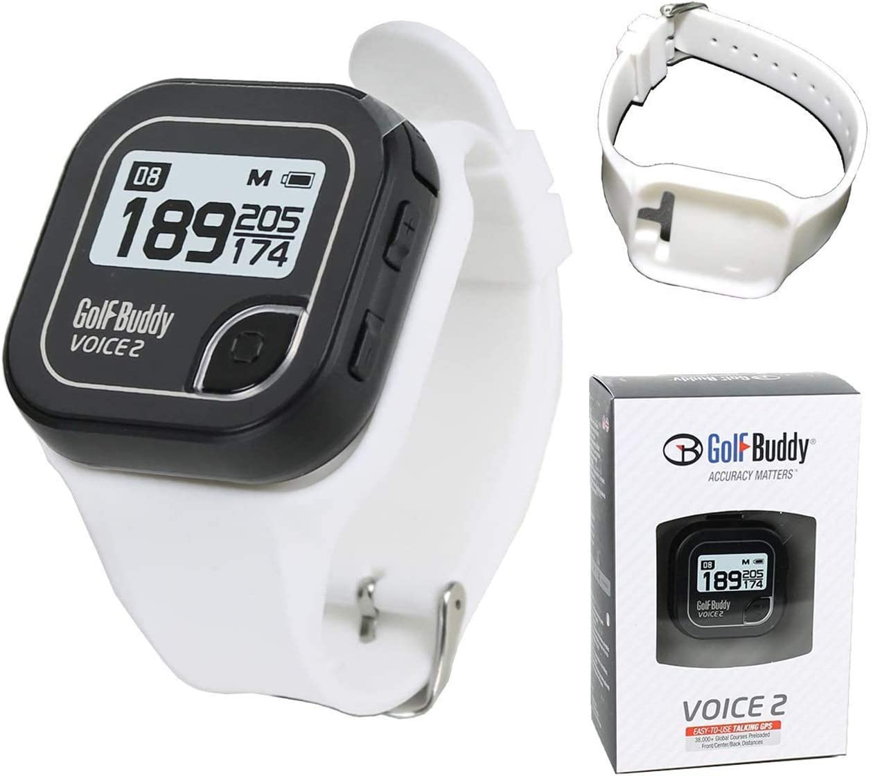 BUNDLE: 2016 Golf Buddy Voice 2 Golfbuddy Voice2 Easy-To-Use Talking GPS + Golf Buddy Wristband (White)