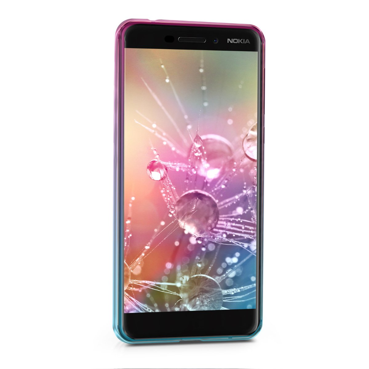 kwmobile Case for Nokia 6.1 (2018) - Clear TPU Soft Phone Cover - Bicolor Design, Dark Pink/Blue/Transparent