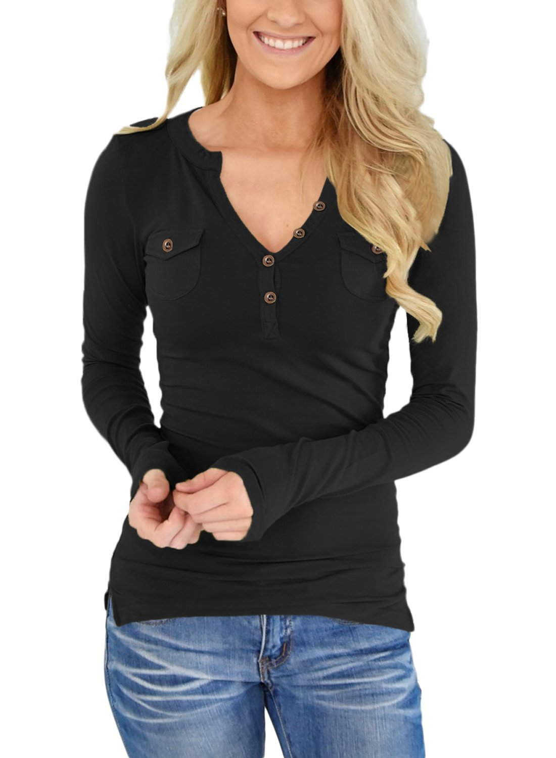 ZKESS Womens Henley Blouse Long Sleeve V Neckline Button Pocket Tops Shirts Black M