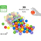 EEVOVEE Coloured Pool Balls for Kids, 6cm - Pack of 50
