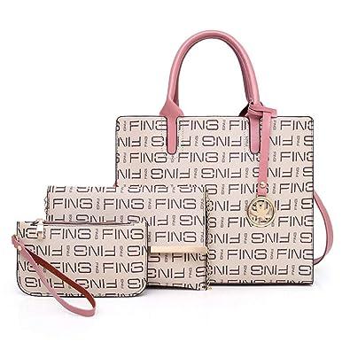 Amazon.com  Women Purses and Handbags Set Leather Top Handle Satchel Tote  Shoulder Bag 3pcs (Beige)  Shoes 76ddede2b1237