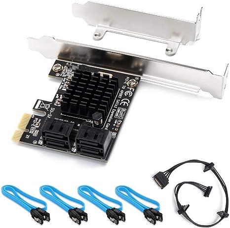 QNINE Tarjeta SATA PCIe de 4 puertos con 4 cables SATA y línea de ...