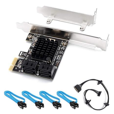 QNINE Tarjeta SATA PCIe de 4 puertos con 4 cables SATA y ...