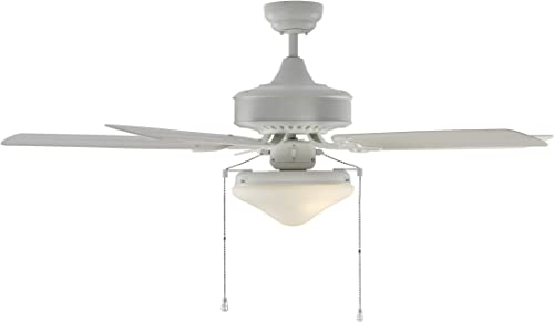 Monte Carlo 5HVO52RZWD Haven 52 Outdoor Ceiling Fan with LED Light and Pull Chain, 5 ABS Blades, White – Schoolhouse Light