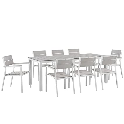 Modway Maine 9 Piece Aluminum Dining Table And Chair Outdoor Patio Set In  White Light