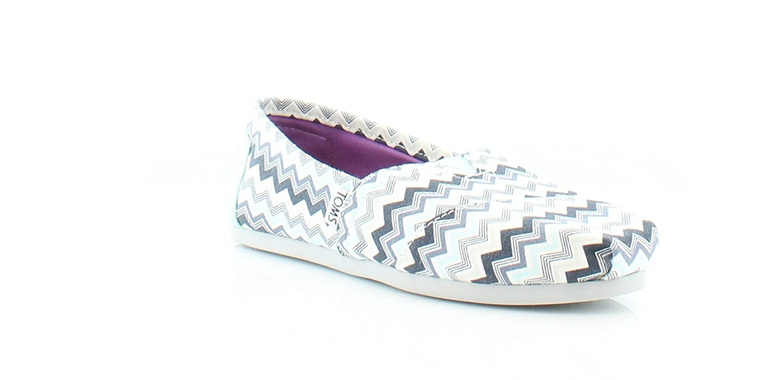 bfda557b9ea TOMS Classics Blue Grey Canvas Chevron 10007996 Womens 7  Amazon.in  Shoes    Handbags
