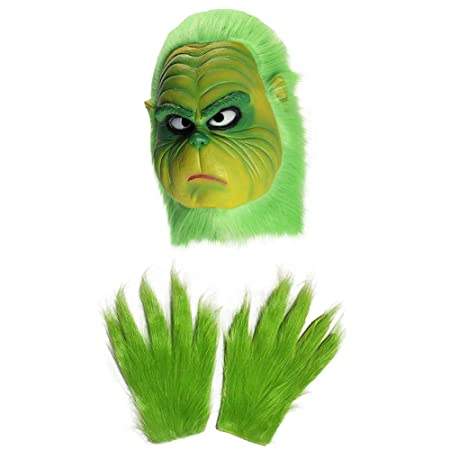 Máscara de Monstruo Verde Grinch, Divertido Navidad Santa de ...