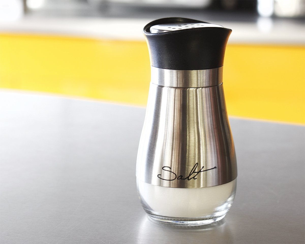 Salt and Pepper Shakers Set - High Grade Stainless Steel with Glass Bottom and 4' Stand - 4'' x 6'' x 2'', 4 oz. by Juvale (Image #3)