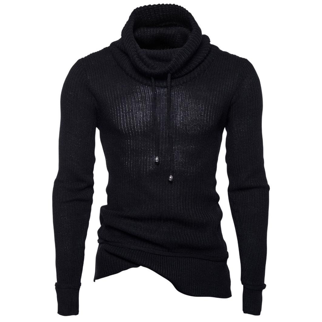 Autumn Winter Men's Turtle Neck Sweater Pullover Loose Jumper Knitwear Outwear Blouse Long Sleeve Sweatshirt (Black, XXL)