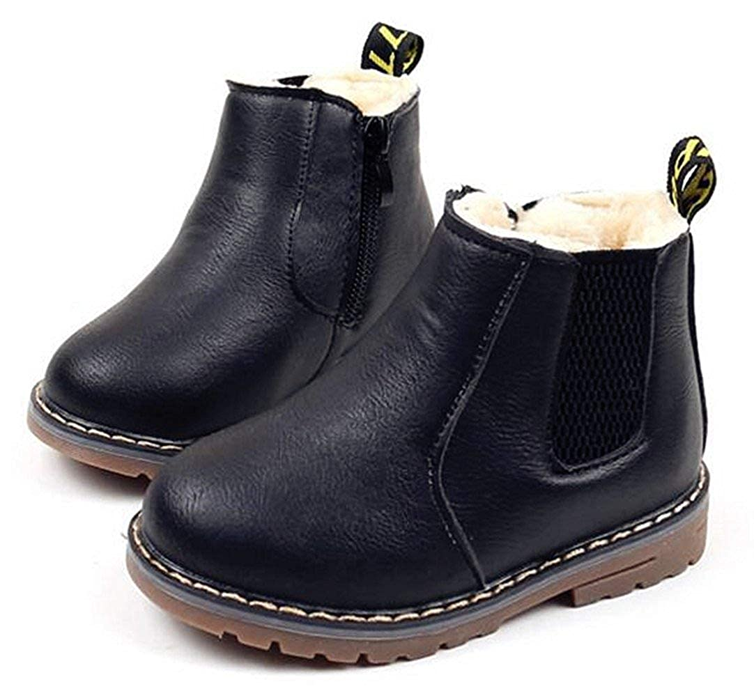 MOREMOO Boys Girls Waterproof Side Zipper Short Ankle Winter Snow Boots